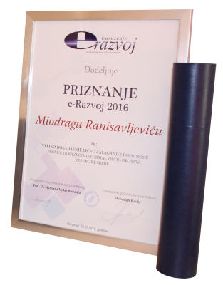 Priznanje e-Razvoj 2016 Miodrag Ranisavljevic